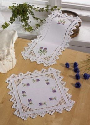 Hardanger with Violets (Kit) - I found this while browsing JuliesXstitch.com