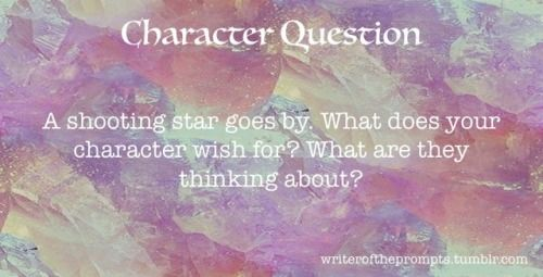 """A shooting star goes by. What does your character wish for? What are they thinking about?  ""  Knowing your characters is an instrumental step in writing a good piece. Use these questions to get to know them a little better. Who knows, you might even..."