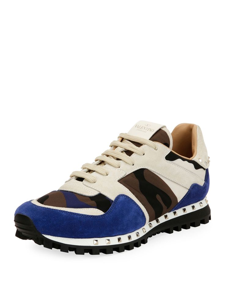 Valentino Mens Rockrunner Camo Leather Sneaker