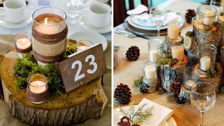 Thème Hiver : Osez un peu d'originalité sur votre table d'hiver avec quelques rondins de bois. En support pour les photophores ou en centre de table.