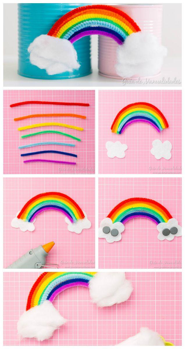 Arcoíris magnético con limpiapipas - Melt Tutorial and Ideas Craft Stick Crafts, Crafts To Do, Yarn Crafts, Preschool Crafts, Kids Crafts, Arts And Crafts, Paper Crafts, Summer Crafts For Kids, Spring Crafts