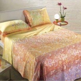 Completo lenzuola copriletto matrimoniale Caleffi Kimono