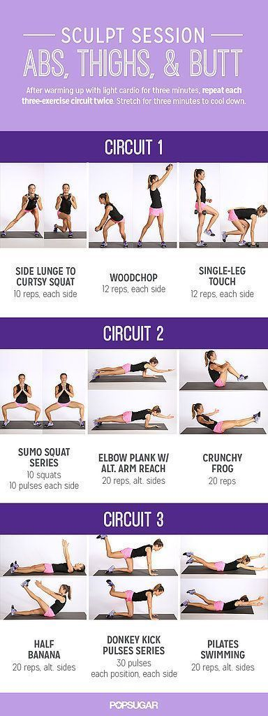 Sculpt three major parts of your body — abs, thighs and butt — with this effective circuit.