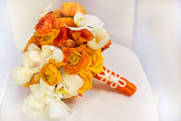 White Orange Bridal Bouquet - a blend of orange ranunculus, white ...