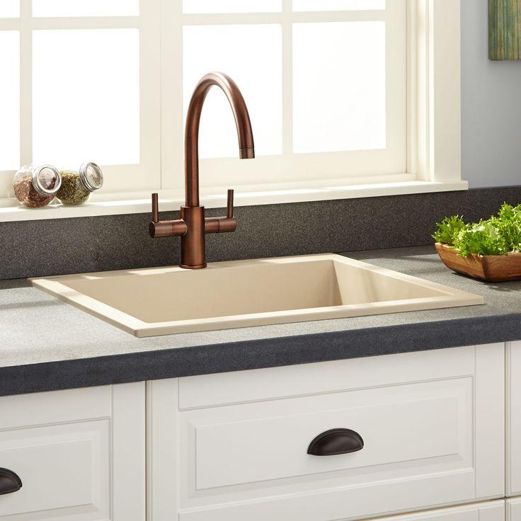 """24""""+Holcomb+Drop-In+Granite+Composite+Sink+-+Beige"""