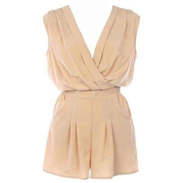 Making a Comeback yet again. The Romper. ❤ liked on Polyvore featuring jumpsuits, rompers, dresses, playsuit romper, jump suit, beige jumpsuit, romper jumpsuit and playsuit jumpsuit