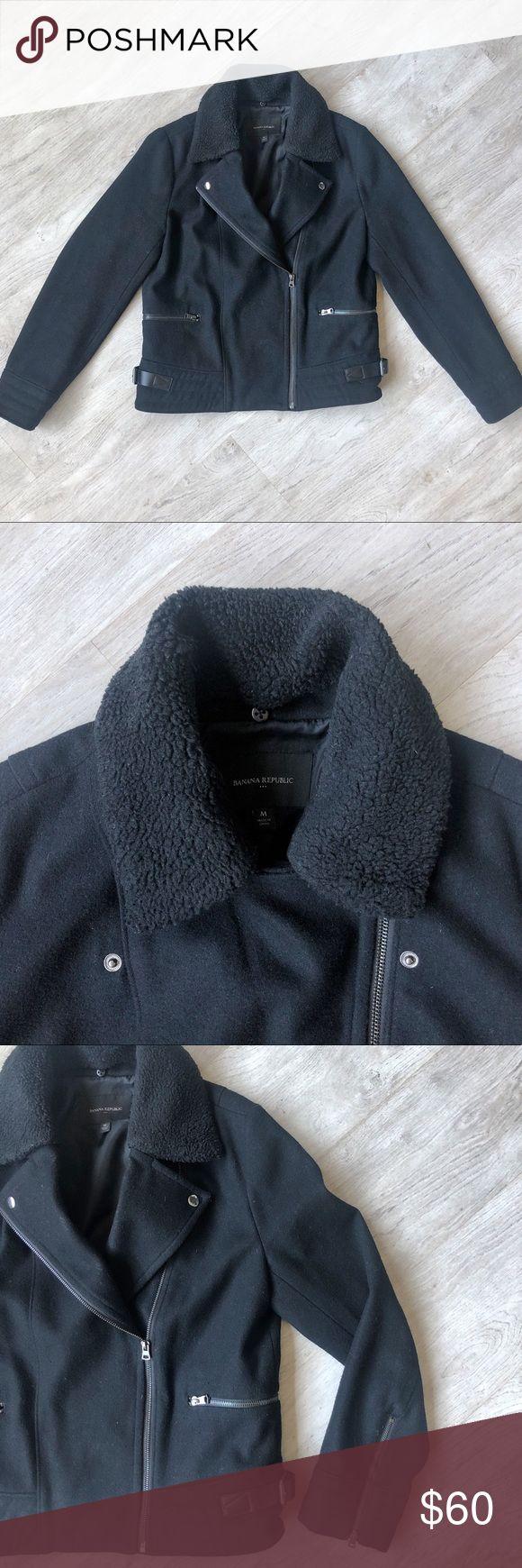 Sherpa Collar Wool Moto Jacket Moto jacket, Jackets