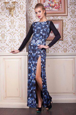 Бриллианты платье Долорес д/р принт-черная отделка французский трикотаж + дайвинг (40% шерсть, 60% полиэстер)