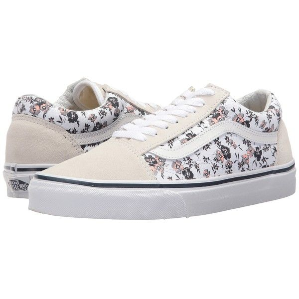 Vans Old Skool ((Ditsy Bloom) True White) Skate Shoes ($60) ❤ liked on Polyvore featuring shoes, white shoes, white leather shoes, vans shoes, breathable leather shoes and shock absorbing shoes