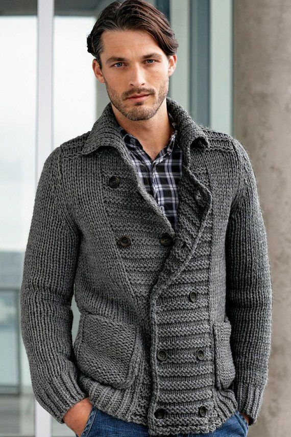 Men's hand knit cardigan 19A with pockets. Stylish and comfy. Premium Quality Yarns. Any Sizes and Any Colors. Made by KnitWearMasters: 1000's of Satisfied Cust