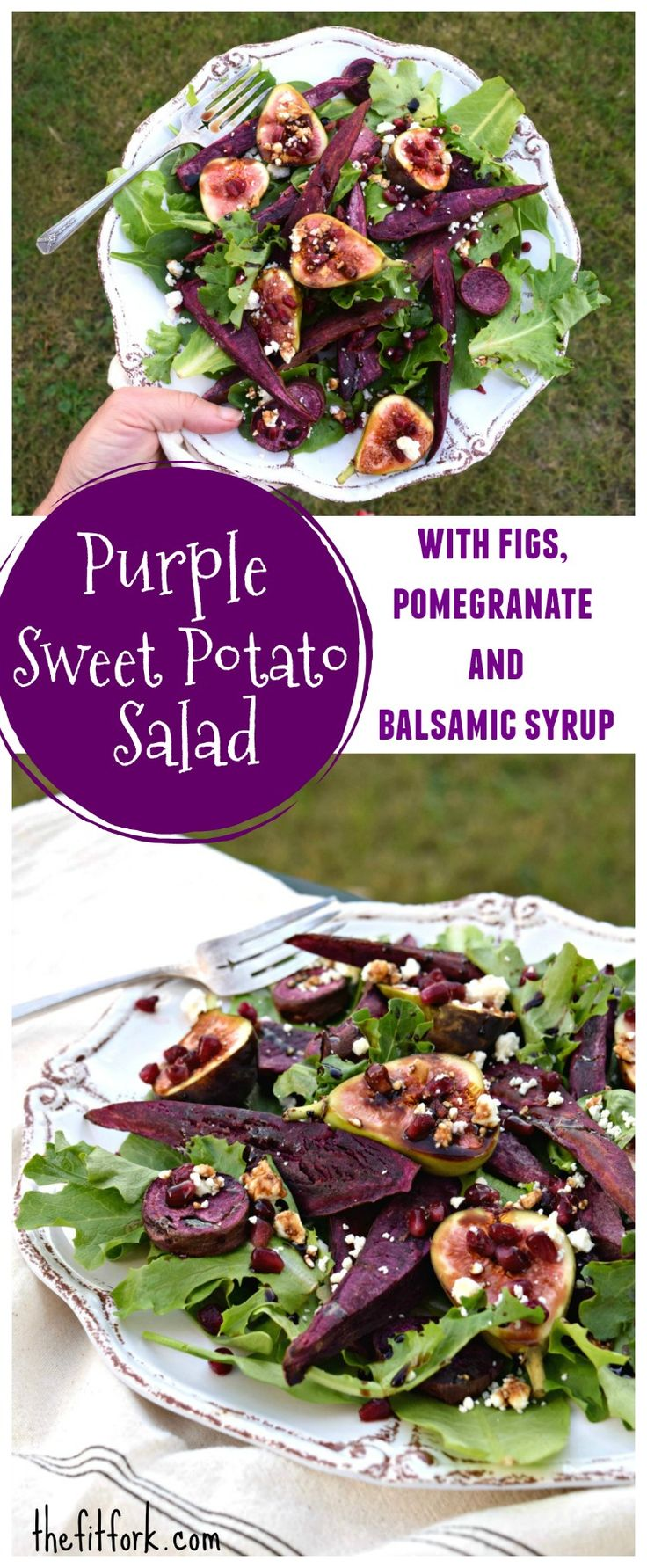 Purple Sweet Potato Salad with Figs, Pomegranate and Balsamic Syrup -- a beautiful and nutrient-packed late fall salad!