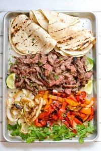 Skirt Steak Fajitas. Such a good date night meal in the summer!