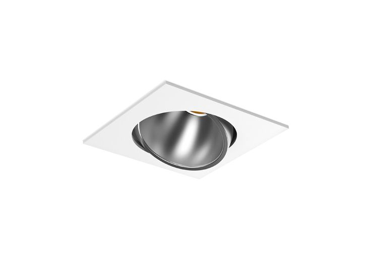 Recessed indoor lighting fixture IP20. With an adjustable spotlight mounted with protection glass and different possible reflectors.