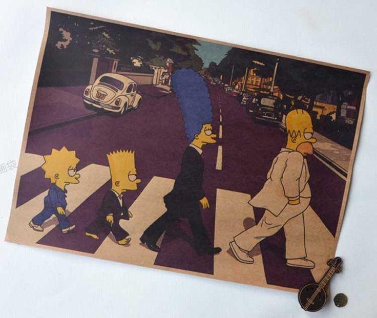 Ретро плакаты для стен винтаж симпсон на дороге мультфильм бумаги плакаты украшения стены наклейки домашнего декора бесплатная доставка купить на AliExpress