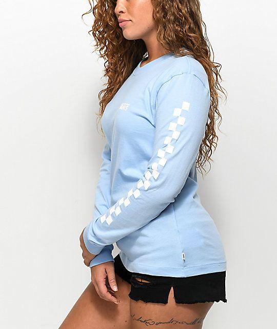 d58e0870 Vans Checker Light Blue Long Sleeve T-Shirt in 2019   Seriously ...