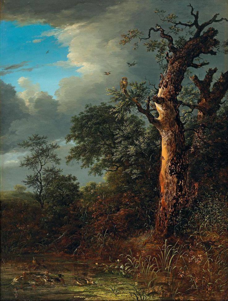 Неизвестный художник.  Сцена в сумерках на лесном пруду с совой. 1850