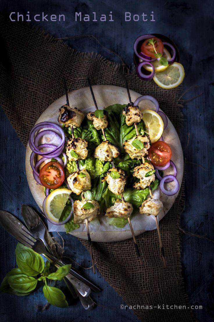 Malai chicken boti - Malai chicken boti also known as chicken malai kebab are mild spicy and creamy textured aromatic chicken nuggets.