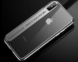 Silikónový transparentný kryt pre iPhone X so striebornými okrajmi ,