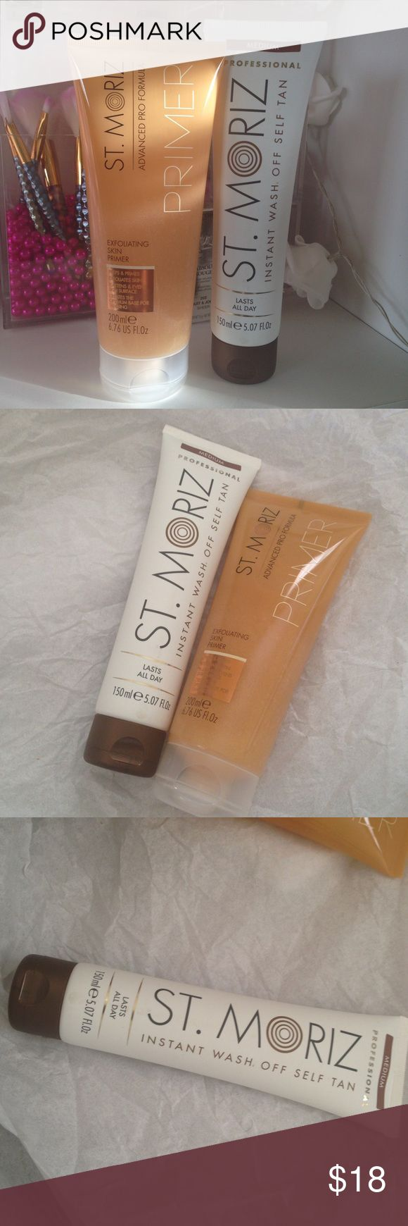Self tanner. Medium. Exfoliating scrub St Moriz instant wash off self tan & exfoliating primer. Both are brand new full.  Both are selling for one price. walmart Other