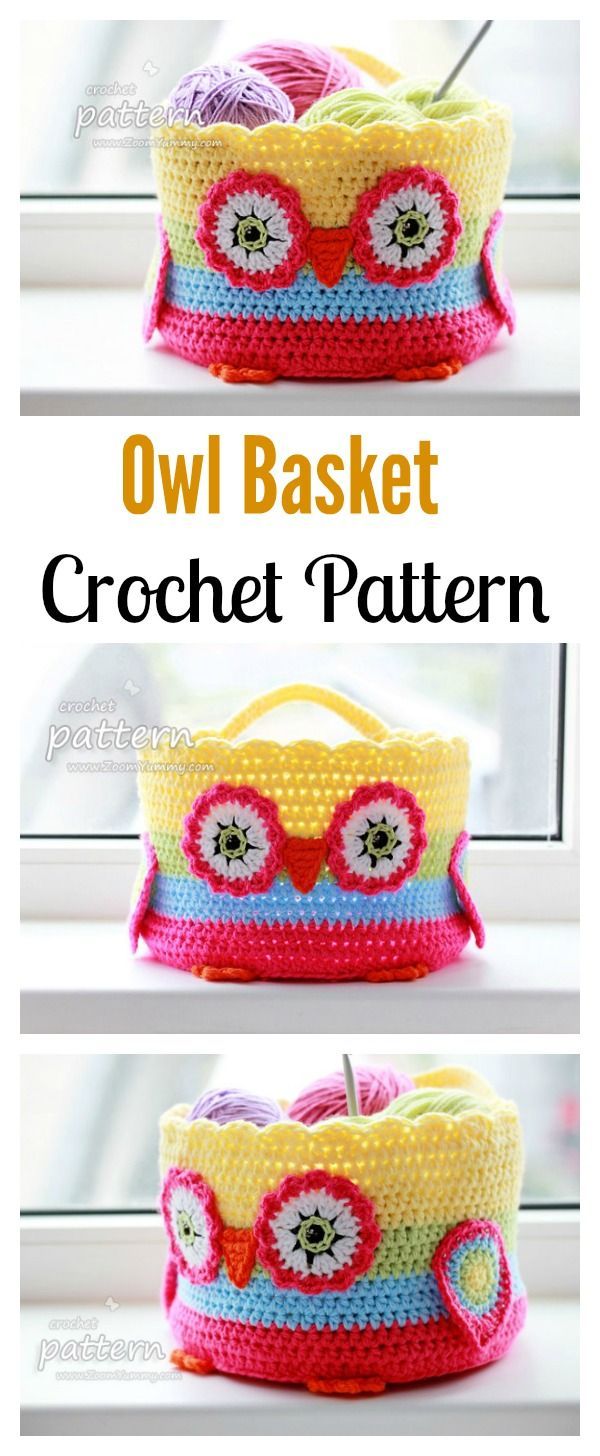 DIY Crochet Owl Basket Pattern. A Great Storage you can show off with!