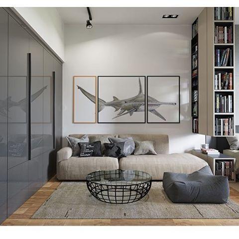 Nesse apartamento/estúdio uma estante de livros separa o quarto da sala.  #apto #amazing #archdaily #architect #architecture #instahome #interiores #instablogger #interiordesign #decora #design #decoracao #designporn #cool #decorazione #modernarchitecture #colourfull #tonsdecinza #blue #art #arte #interiordesign #decora #design #sala #quarto #wg #poltrona