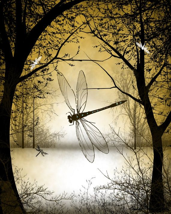 Fantasy Art Tree Art Dragonfly Art Digital by RusticGoth