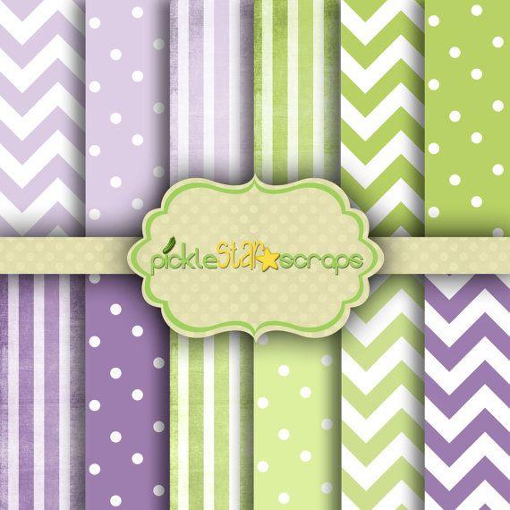 Patterns Vol3  12 Digital Scrapbook Papers  by PickleStarScraps
