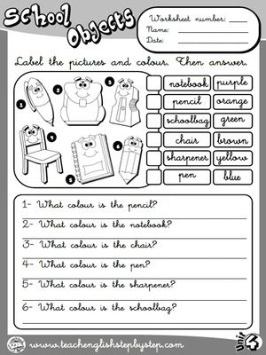 School Objects - Worksheet 7 (B&W version)