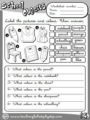School Objects - Worksheet 7 (B&W version)