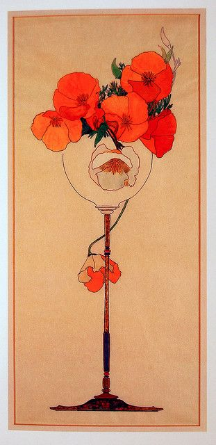 poppies in tall jar  #wallartroad #nouveau