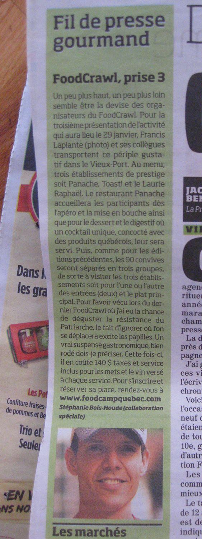 Un article sur le 3e FoodCrawl qui avait lieu à Québec