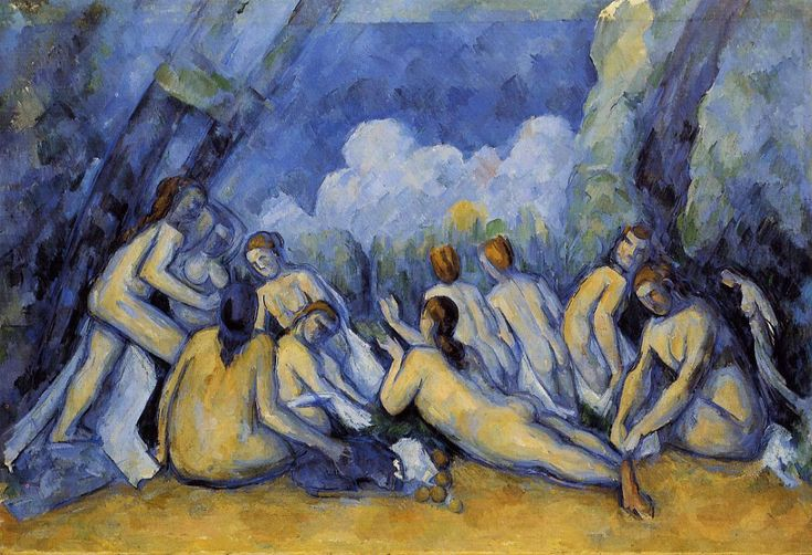 "Large Bathers- Cezanne 1900 Post-Impressionism (Often referred to as the ""Large Bathers"" or ""Big Bathers"" to distinguish it from the other bather scenes painted by Cezanne. It is also considered one of the masterpieces of modern art, as well as Cezanne's finest painting.)"