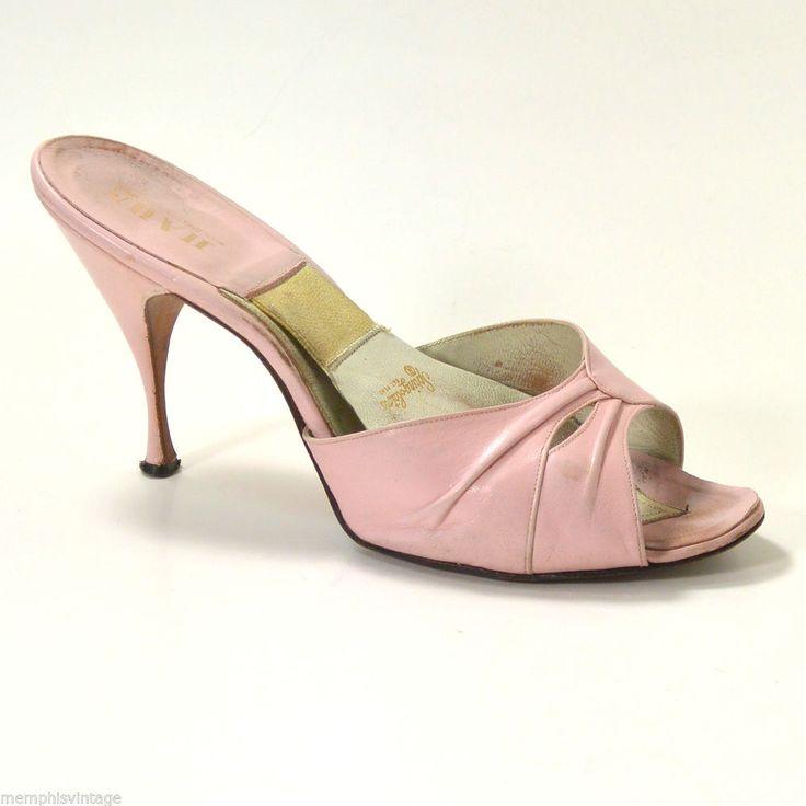 Vtg 50s Springolators Shoes P Toe Heels Pink Leather Size 9 Vintageshoes