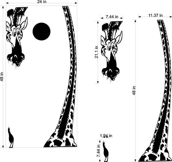 Giraffe Safari Zoo Animals Cornhole Board Decals Stickers
