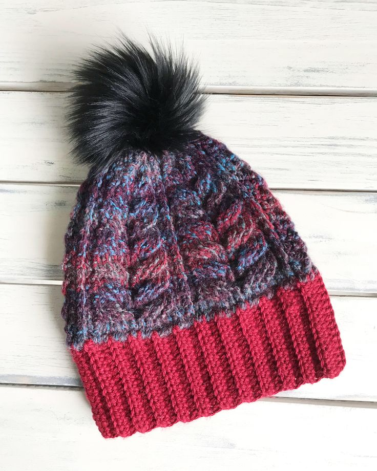 Multi Colour Hat with Faux Fur Pom by GingerfullyCozy on Etsy https://www.etsy.com/ca/listing/590006317/multi-colour-hat-with-faux-fur-pom