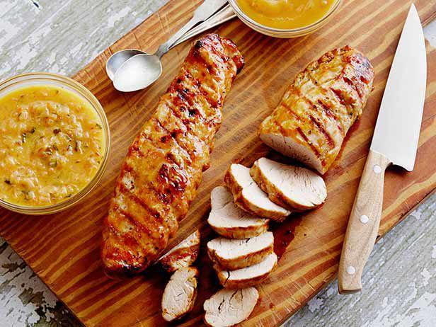 Grilled Pork Tenderloin a la Rodriguez with Guava Glaze and Orange-Habanero Mojo