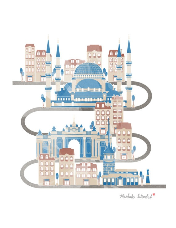 Travel in Istanbul Illustration Poster by UniStyle on Etsy, $15.00