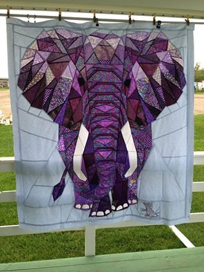 Purple Elephant pieced by terry Rowland using a Pattern by Violet Craft caled the Elephant Abstractions