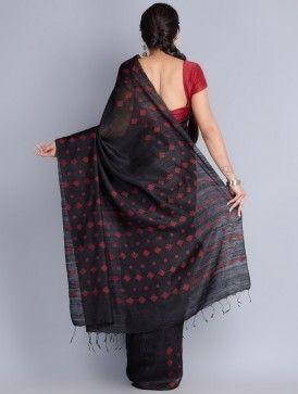 Black Matka Silk Handwoven Jamdani Saree