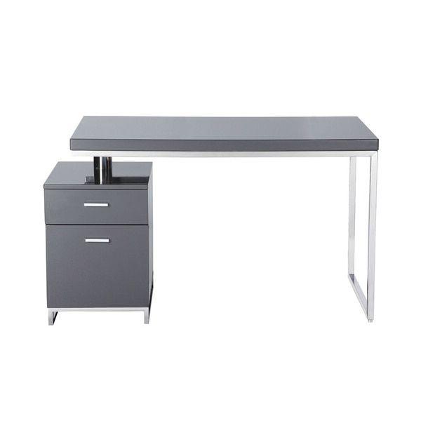 Aurelle Home Stephen Grey High Gloss Study Desk