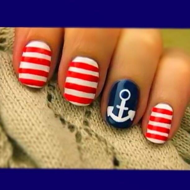 Fourth of July nails (: