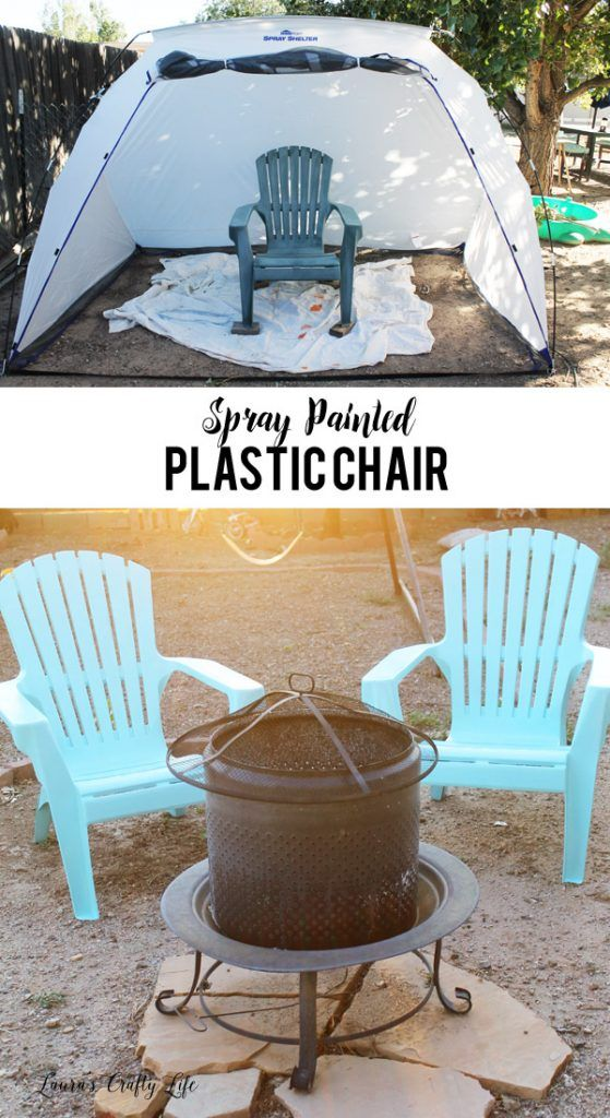 Spray Painted Plastic Chairs - easily give your patio furniture a refresh with spray paint (use the @homeright spray shelter to easily paint outside) #ad