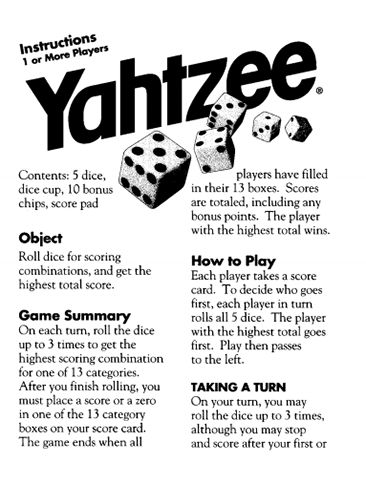 Here's a set of official Yahtzee playing rules from Hasbro.