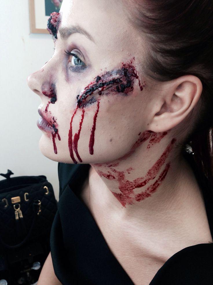 Scar cut throat scary halloween makeup | Haunted house | Pinterest ...