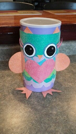 oatmeal valentine box | Owl valentine box made from oatmeal canister