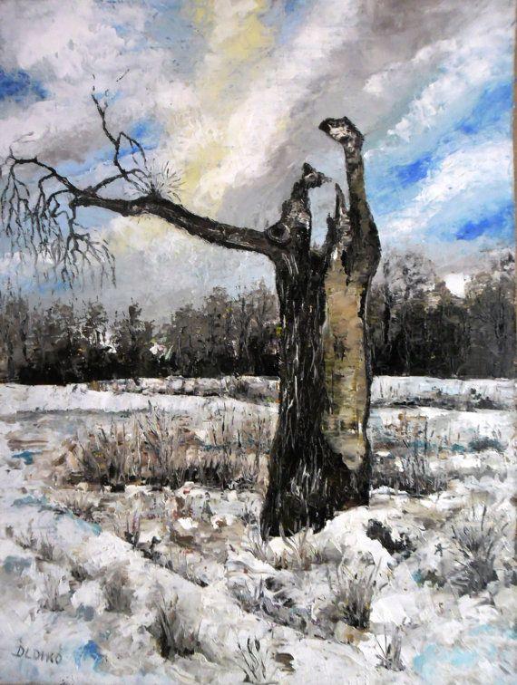Art  Oil Painting  Original Painting Winter by kezulegsajat