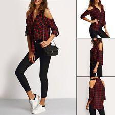 Damen Kariertes Hemd Bluse Schulterfrei Langärmlig Bluse-oberteile Größe s-2XL in Kleidung & Accessoires, Damenmode, Blusen, Tops & Shirts   eBay