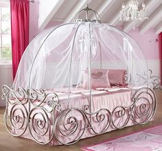 canyon disney princess full carriage canopy bed with scroll and bow detail at