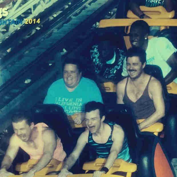 Chris Colfer and Boyfriend Will Sherrod Brave Huge Six Flags Roller Coaster! (PHOTO)2014