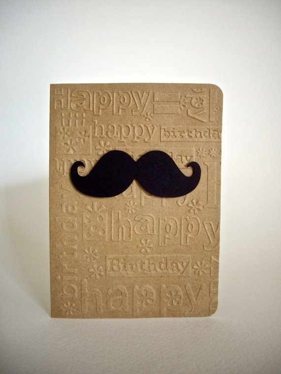 mustache card mustache brown paper/lunch bag glued to card